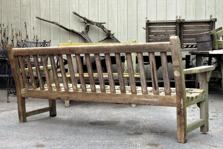 Old Weathered Teak Slat Back Long Garden Bench For Sale 1