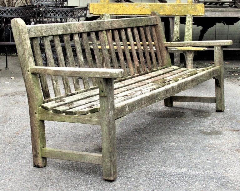 Old Weathered Teak Slat Back Long Garden Bench For Sale 2