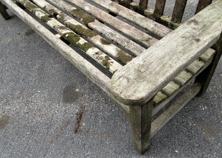 Old Weathered Teak Slat Back Long Garden Bench For Sale 4