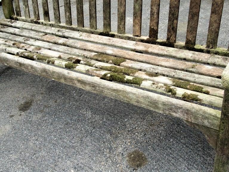 Old Weathered Teak Slat Back Long Garden Bench For Sale 5