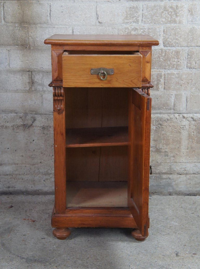 European Old World English Pine Pedestal Cabinet Vintage Accent Table Nightstand