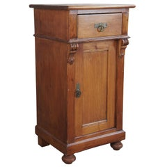 Old World English Pine Pedestal Cabinet Vintage Accent Table Nightstand