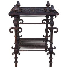 Old World Rustic Iron 2-Tier Mirrored Arhaus Ornate Scrolled Iron Side End Table