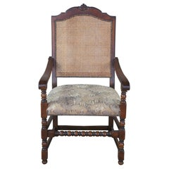 Old World Spanish Revival Carved Oak Caned Arm Accent Chair Aubusson Style Seat