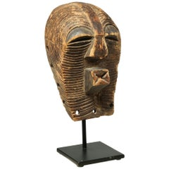 Old Worn Small Songye Kifwebe Mask with Fine Striations Around Face Cubist Mouth
