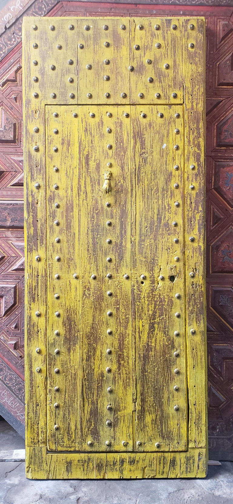 Early 20th Century Old Yellow Moroccan Wooden Door, 23MD41 For Sale