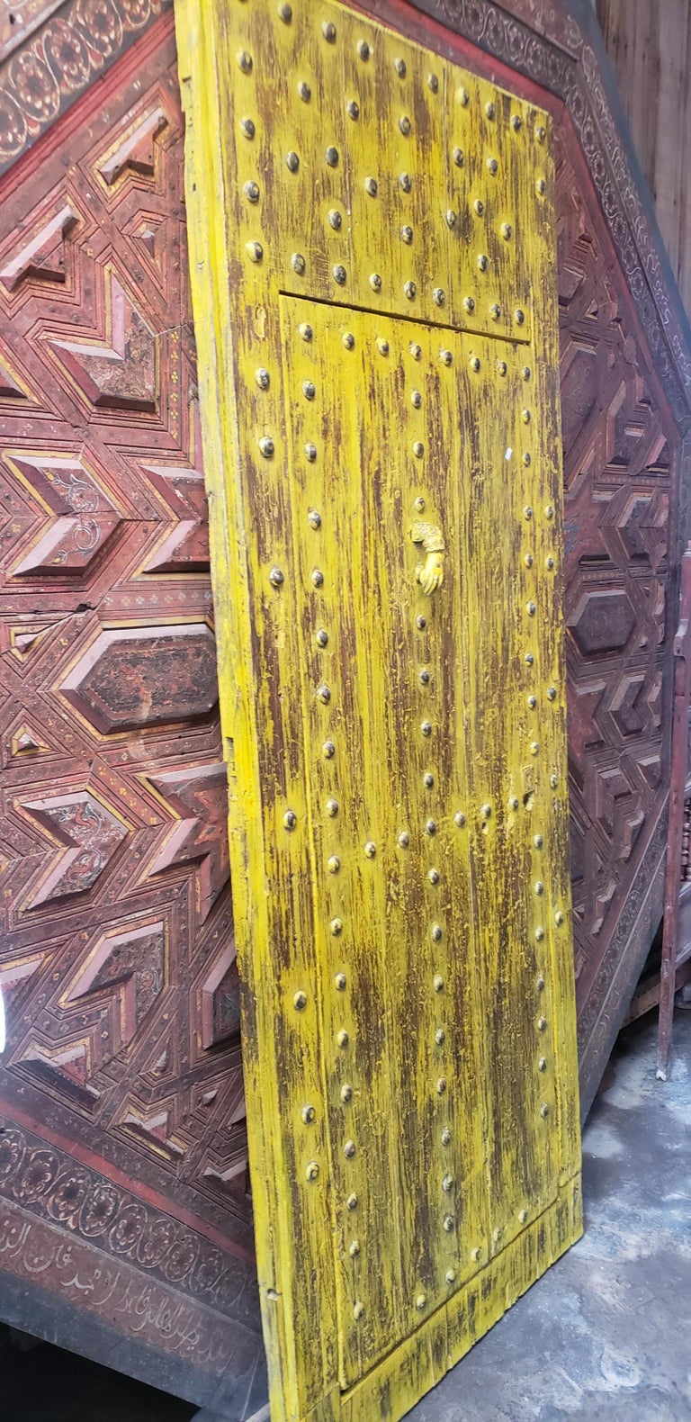 Old Yellow Moroccan Wooden Door, 23MD41 For Sale 1