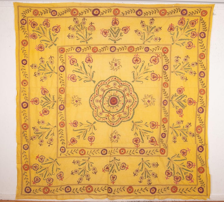 A 1930s Suzani with great quality silk embroidery on a cotton field.