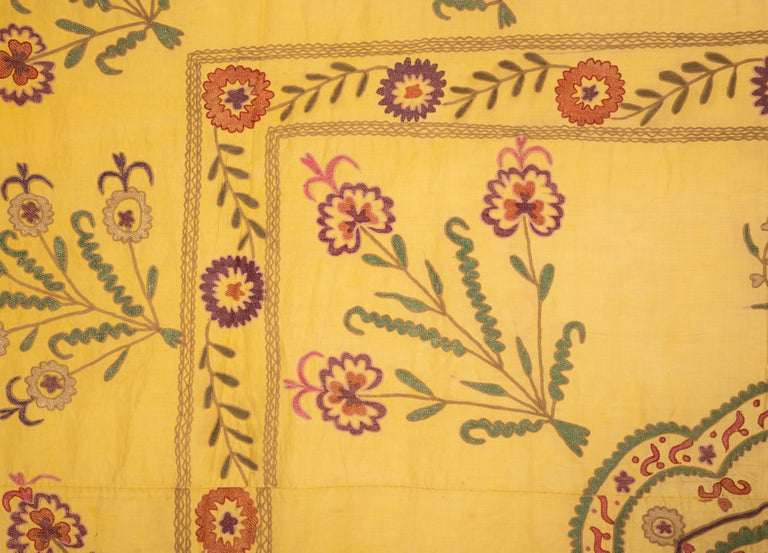 Embroidered Old Yellow Suzani from Uzbekistan, 1930s For Sale
