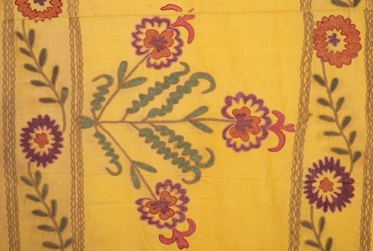 20th Century Old Yellow Suzani from Uzbekistan, 1930s For Sale