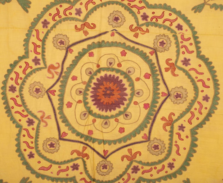 Silk Old Yellow Suzani from Uzbekistan, 1930s For Sale