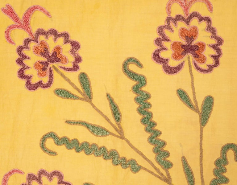 Old Yellow Suzani from Uzbekistan, 1930s For Sale 2