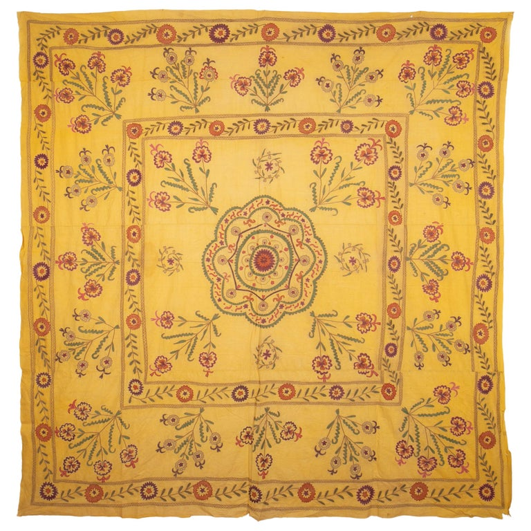 Old Yellow Suzani from Uzbekistan, 1930s For Sale