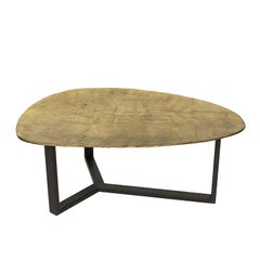Oldies Coffee Table in Antique Metal Finish in Brass or Silver Style