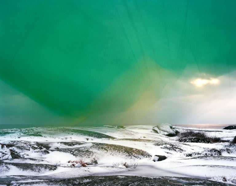 Ole Brodersen Landscape Photograph - Cloth, string and Kite #5- Large abstract landscape green water landscape photo