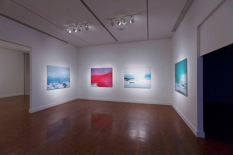 String, Cloth, and Kite 04 - large sky blue snow Scandinavian landscape photo - Photograph by Ole Brodersen