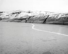 Wood and Sparkler 02 - black and white Scandinavian landscape photo with water