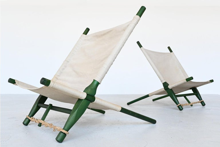 Lacquered Ole Gjerlov Knudsen Saw Pair of Lounge Chairs Cado, Denmark, 1958 For Sale