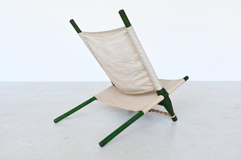 Canvas Ole Gjerlov Knudsen Saw Pair of Lounge Chairs Cado, Denmark, 1958 For Sale