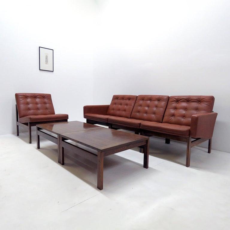 Danish Ole Gjerlov-Knudsen & Torben Lind 'Moduline' Leather Seating Set, 1962 For Sale