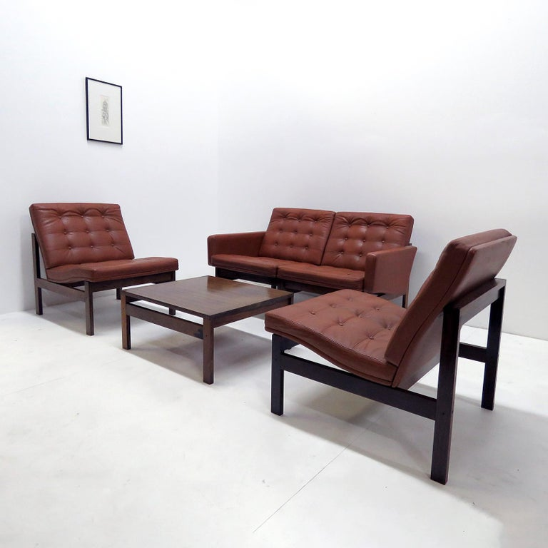 Ole Gjerlov-Knudsen & Torben Lind 'Moduline' Leather Seating Set, 1962 In Good Condition For Sale In Los Angeles, CA