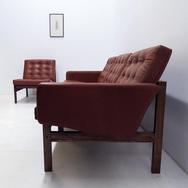 Mid-20th Century Ole Gjerlov-Knudsen & Torben Lind 'Moduline' Leather Seating Set, 1962 For Sale