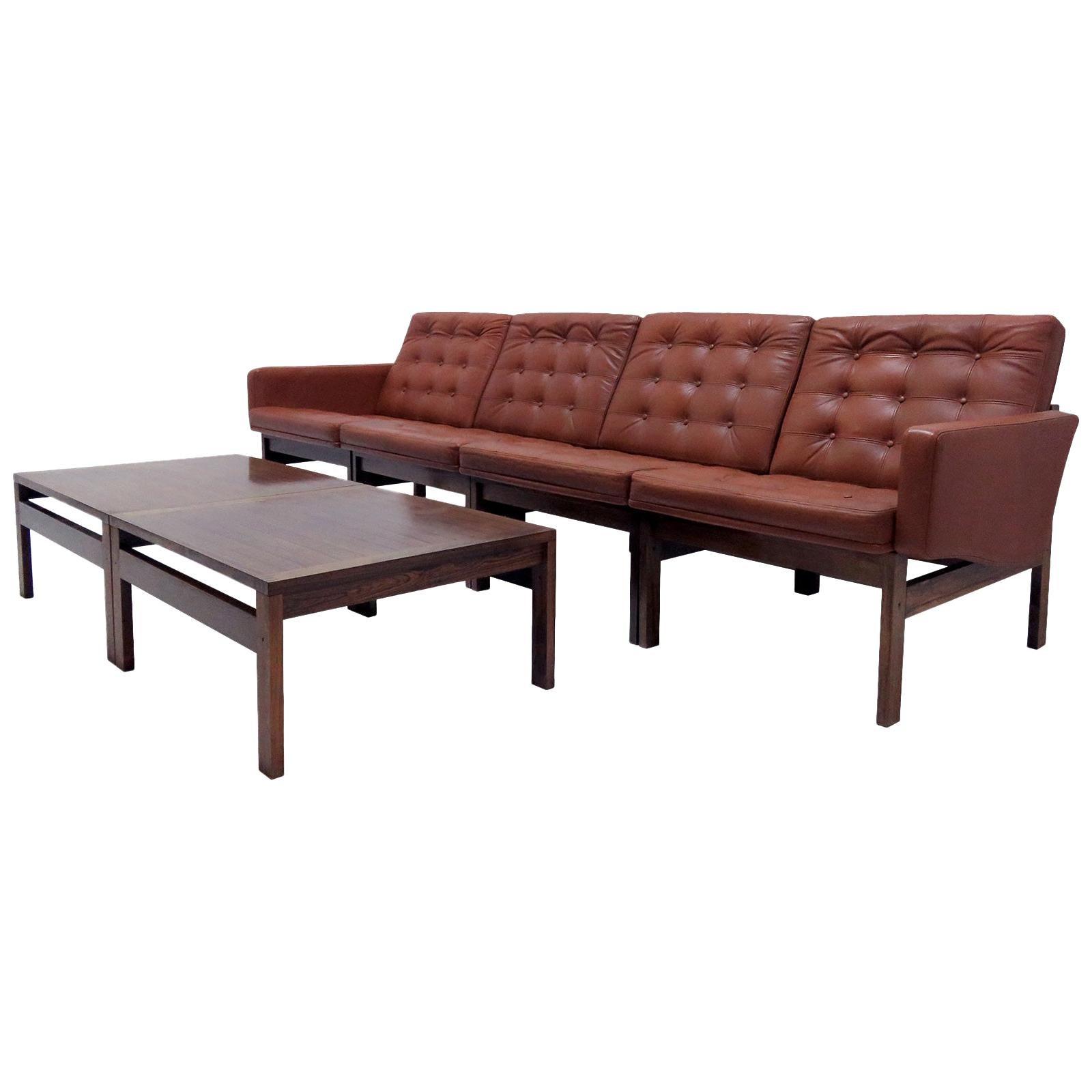 Ole Gjerlov-Knudsen & Torben Lind 'Moduline' Leather Seating Set, 1962