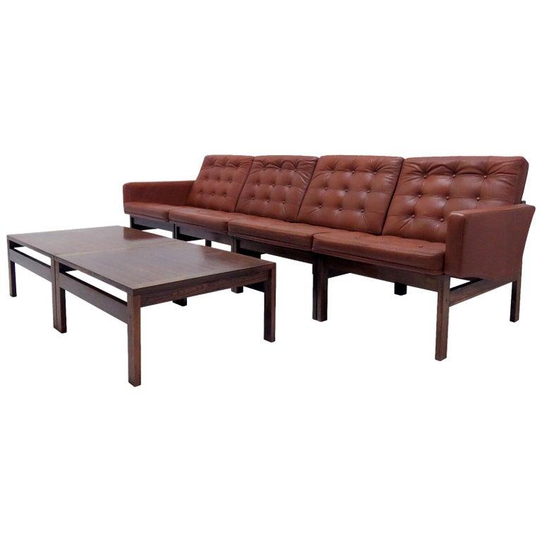 Ole Gjerlov-Knudsen & Torben Lind 'Moduline' Leather Seating Set, 1962 For Sale