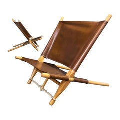 Ole Gjerløv-Knudsen a Pair of Oak, Leather and Rope Savstol Easy Chairs