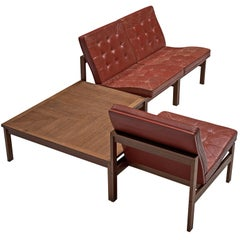 Ole Gjerløv-Knudsen for France & Søn Living Room Set in Red Leather