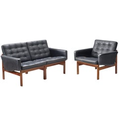 Ole Gjerløv-Knudsen Lounge Set in Black Leather