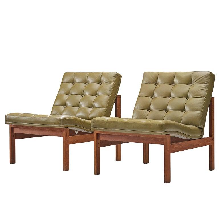 Ole Gjerløv Knudsen Torben Lind For France Son Green Leather Lounge Chairs