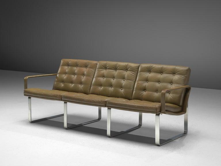 Ole Gjerløv-Knudsen & Torben Lind for France & Søn, three-seat sofa, teak and leather, Denmark, 1962   Modern and beautiful colored modular sofa, designed by Ole Gjerløv-Knudsen & Torben Lind as part of the Moduline series in 1961. The steel frame