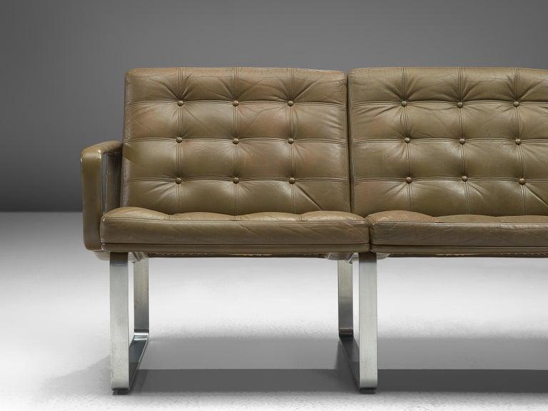 Mid-Century Modern Ole Gjerløv-Knudsen & Torben Lind Moduline Sofa in Navy Green Leather For Sale