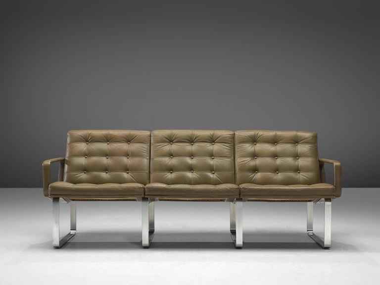 Danish Ole Gjerløv-Knudsen & Torben Lind Moduline Sofa in Navy Green Leather For Sale