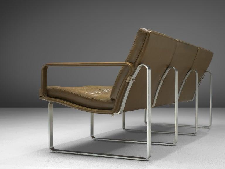 Mid-20th Century Ole Gjerløv-Knudsen & Torben Lind Moduline Sofa in Navy Green Leather For Sale