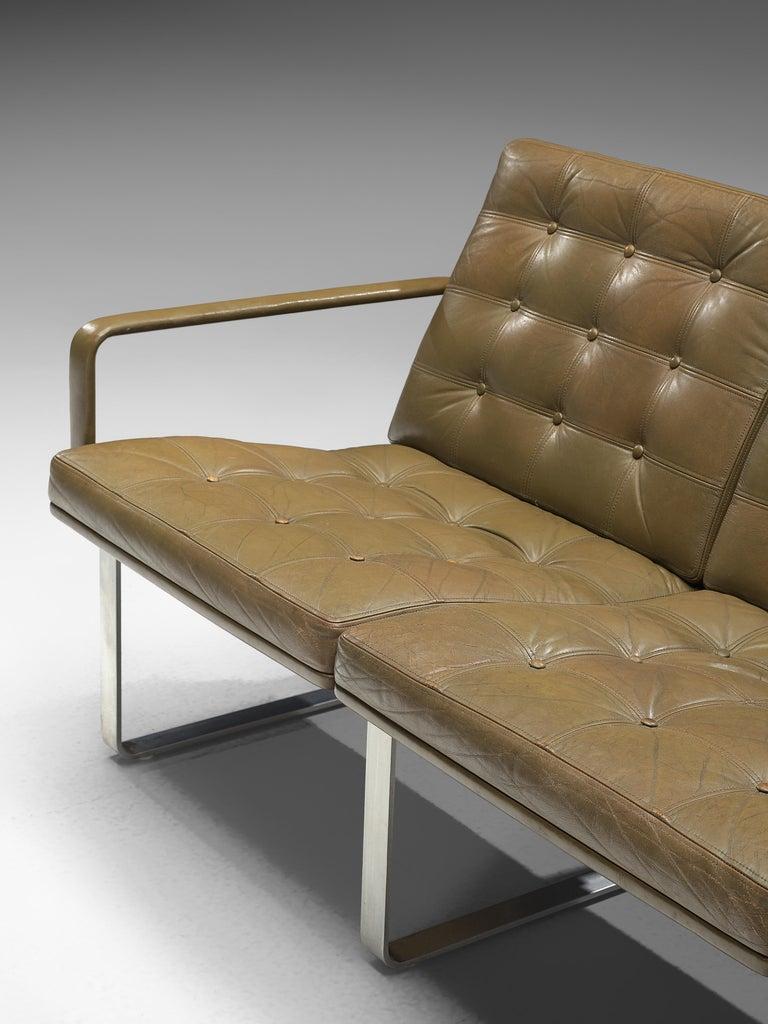 Ole Gjerløv-Knudsen & Torben Lind Moduline Sofa in Navy Green Leather For Sale 1