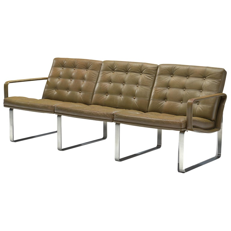Ole Gjerløv-Knudsen & Torben Lind Moduline Sofa in Navy Green Leather For Sale