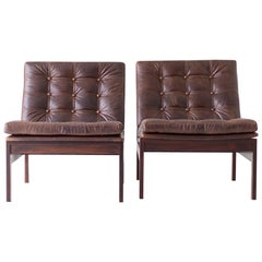 Ole Gjerløv Knudsen & Torben Lind Rosewood and Leather Lounge Chairs
