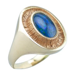 Ole Lynggaard 14 Karat Gold Ring with an Opal