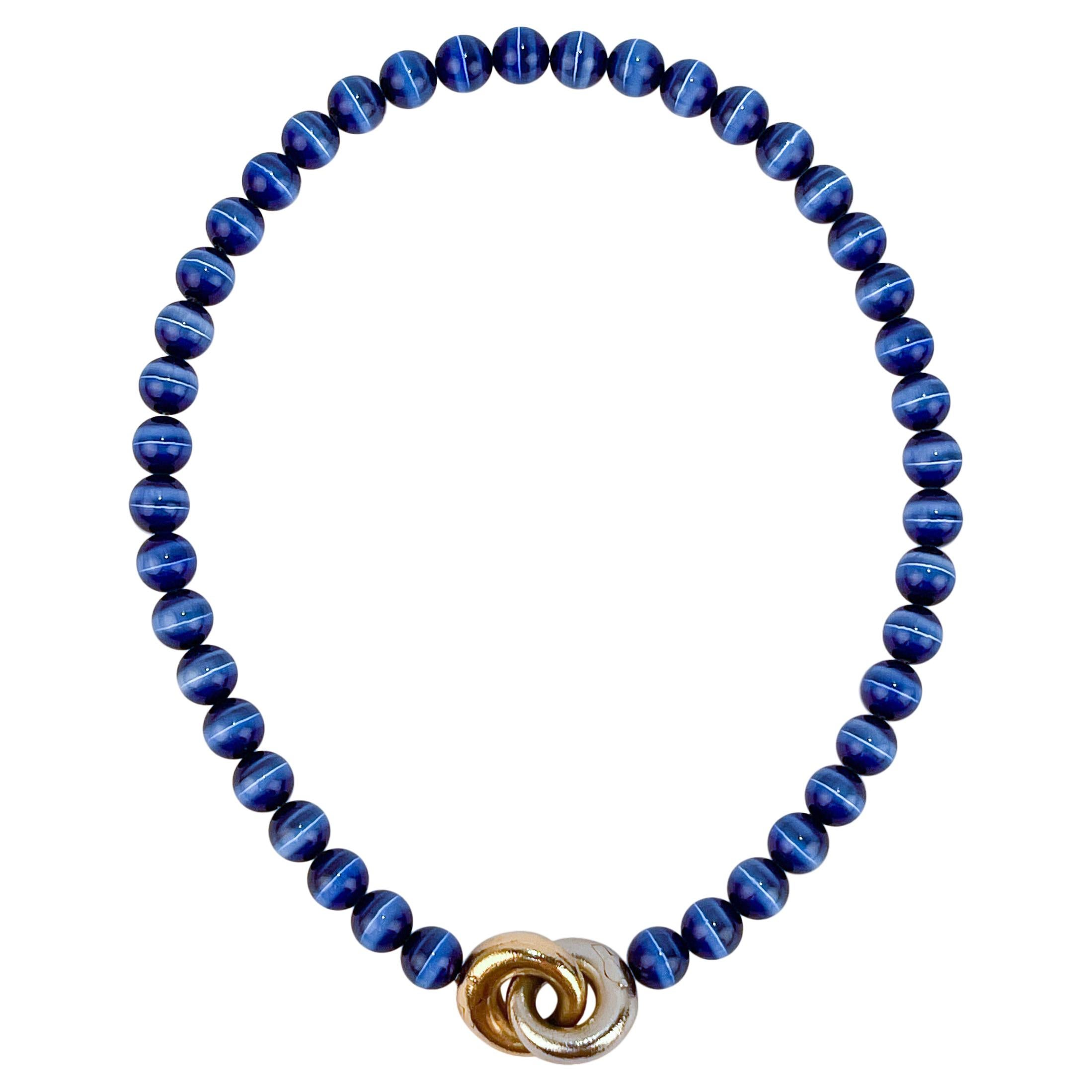 Ole Lynggaard 14k Gold & Blue Tiger's Eye Beaded Collier or Choker Necklace