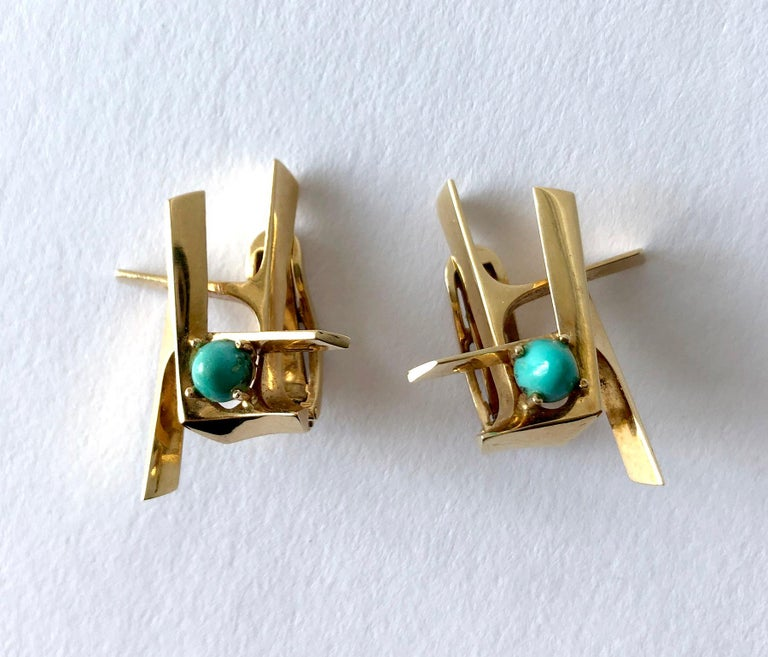 Women's Ole Lynggaard Gold Persian Turquoise Danish Abstract Modernist Earrings For Sale