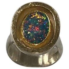 Ole W. Jacobsen Sterling Silver / Gold Ring with Opal
