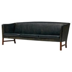 Ole Wanscher '603' Sofa in Black Leather, 1960s