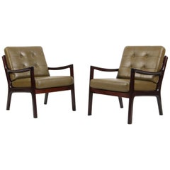 Ole Wanscher a Pair of Lounge Chairs, Model Senator, Mahogany, and Green Leather