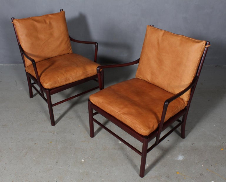 Ole Wanscher lounge chairs new upholstered with vintage aniline leather.