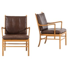 Ole Wanscher Colonial Easy Chairs by P. Jeppesen Møbelfabrik in Denmark