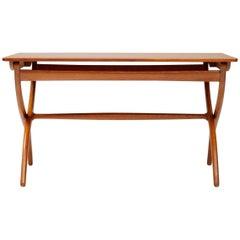 Ole Wanscher Cross Leg Table, Teak and Oak