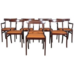 Ole Wanscher Eight Dining Chairs, Model PJ112 Semi Aniline Leather, Rungstedlund