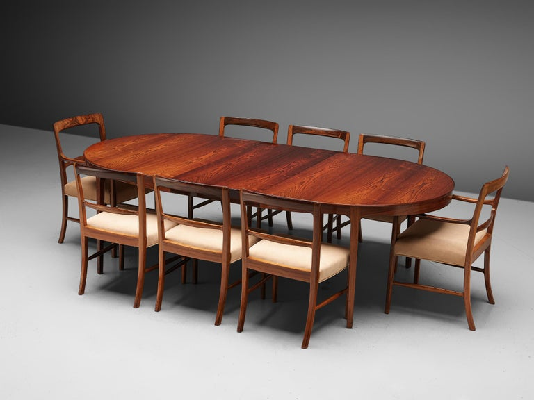 Ole Wanscher Extendable Oval Dining Table in Rosewood 4